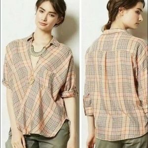 Anthropologie • Holding Horses Wrap Plaid Top